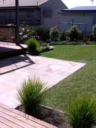 modern garden layout with paving