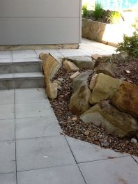 rock garden with paving